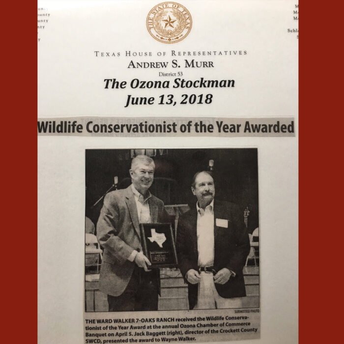 Ranch Conservation Award, Crockett County